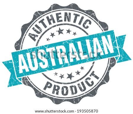 Australian product blue grunge retro style isolated seal - stock photo