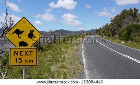 Australian road sign at a national park in Victoria. - stock photo