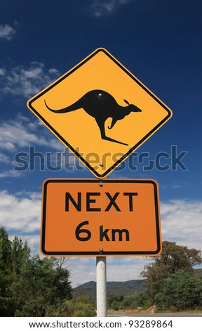 Australian road sign indicating the possibility of kangaroos