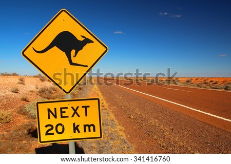 Australian road sign on the highway - stock photo