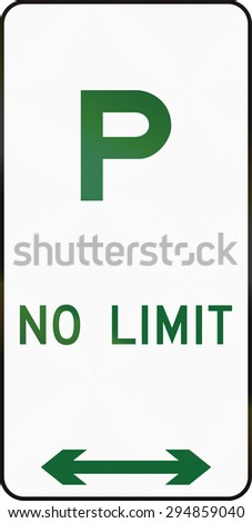 Australian road sign : Parking without restriction. - stock photo