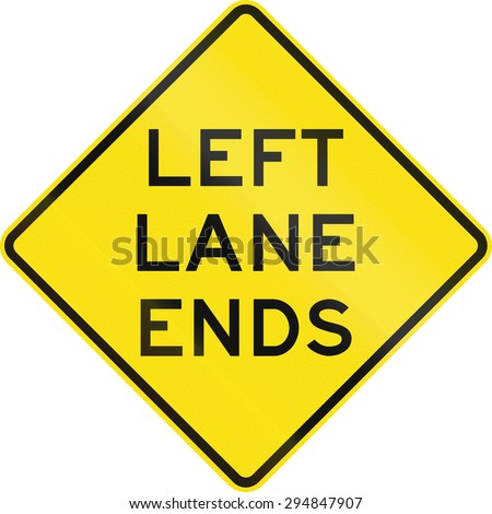 Australian road warning sign - Left lane ends