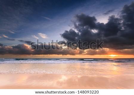australian seascape at dawn (miami beach, qld, australia) - stock photo