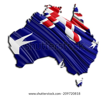 Australian State Flag with white - stock photo