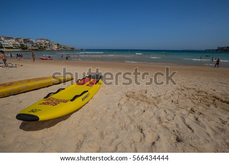 Australian Surf Rescue surfboard on the beach , Bondi Beach, Sydney, Jan 28 - 2017.