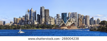 Australian SYdney cityline panorama from harbour with major skyscrapers forming landmark CBD