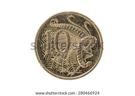 Australian ten cent coin 2007 tail - stock photo
