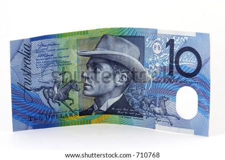 Australian ten dollar note on white background - stock photo