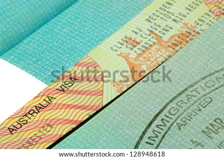 Australian visa and immigration stamp - stock photo