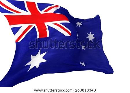 Australian Waving Flag Isolated on White Background. Australia Flag 3D Render Illustration. - stock photo