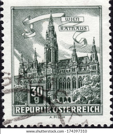 AUSTRIA - CA. 1966: Austrian postage stamp ca. 1966 showing the Gothic Town Hall of Vienna which was built between 1872-1883