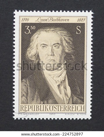 AUSTRIA - CIRCA 1970: a postage stamp printed in Austria showing an image of Ludwig van Beethoven, circa 1970.