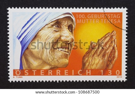 AUSTRIA - CIRCA 2010: a postage stamp printed in Austria showing an image of mother Teresa, circa 2010. - stock photo