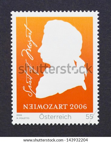 AUSTRIA - CIRCA 2006: a postage stamp printed in Austria showing an image of Wolfgang Amadeus Mozart, circa 2006. - stock photo