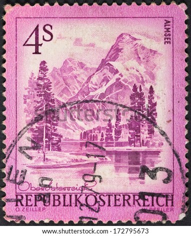 AUSTRIA - CIRCA 1973: A postage stamp printed in the Austria shows mountain lake Almsee, circa 1973