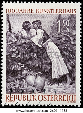 AUSTRIA - CIRCA 1961: A stamp printed by AUSTRIA shows engraving after painting The Kiss by famous Austrian painter August von Pettenkofen, circa 1961 - stock photo