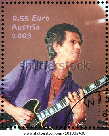 AUSTRIA - CIRCA 2003: A stamp printed by AUSTRIA shows image portrait of  famous English musician, composer, singer and songwriter Keith Richards, circa 2003. - stock photo