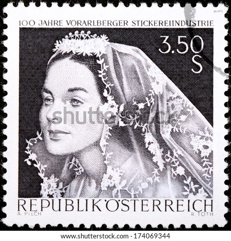 AUSTRIA - CIRCA 1968: A stamp printed by AUSTRIA shows portrait of beautiful woman. Bridal veil  from Vorarlberg, circa 1968. - stock photo