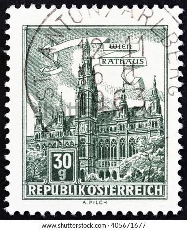"AUSTRIA - CIRCA 1962: A stamp printed in Austria from the ""Buildings"" issue shows Vienna Town Hall, circa 1962."