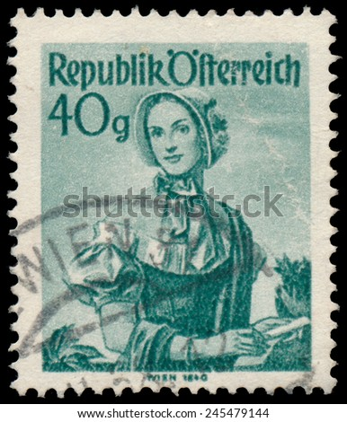 AUSTRIA - CIRCA 1949: A stamp printed in Austria, shows a woman in national dress, Wien, circa 1949
