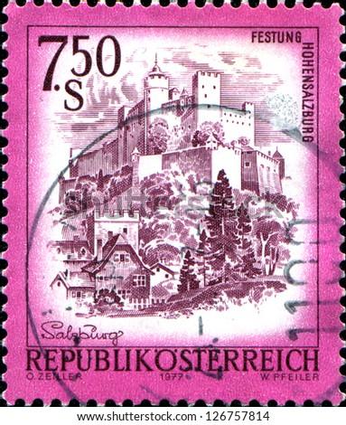 "AUSTRIA - CIRCA 1977: A stamp printed in Austria shows Festung Hohensalzburg, from the series ""Sights in Austria"", circa 1977 - stock photo"