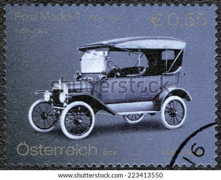 AUSTRIA - CIRCA 2003: A stamp printed in Austria shows Ford Model T, Ford Motor Company century, circa 2003 - stock photo