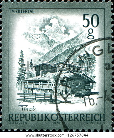 "AUSTRIA - CIRCA 1975: A stamp printed in Austria shows Im Zillertal, from the series ""Sights in Austria"", circa 1975"