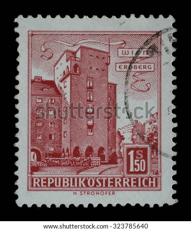 AUSTRIA - CIRCA 1960: A stamp printed in Austria shows image of the Erdberg area of Vienna, series, circa 1960 - stock photo