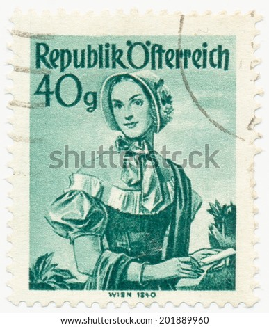 AUSTRIA - CIRCA 1949: A stamp printed in Austria shows image woman in national Austrian costumes, Vienna, 1840, series, circa 1949