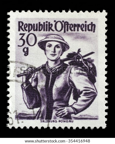 "AUSTRIA - CIRCA 1950: A stamp printed in Austria shows image woman in national Austrian costumes, Salzburg, Pongau , from the series ""Costumes"", circa 1950"