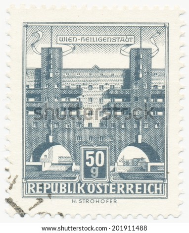 AUSTRIA - CIRCA 1959: A stamp printed in Austria shows Karl Marx Hof by Karl Ehn architect, at Heiligenstadt, Vienna, series, circa 1959 - stock photo