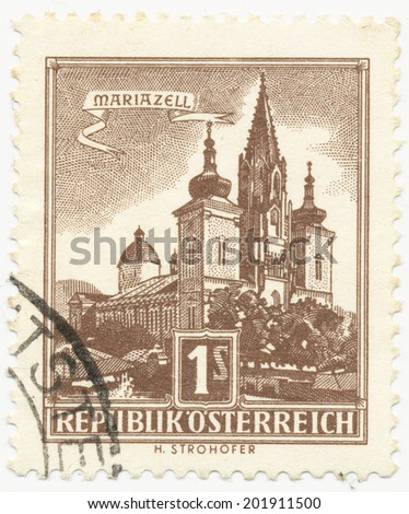 AUSTRIA - CIRCA 1959: A stamp printed in Austria shows Mariazell Basilica of the Birth of the Virgin Mary (autotype print), series, circa 1959 - stock photo