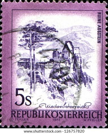 "AUSTRIA - CIRCA 1973: A stamp printed in Austria shows Ruine Aggstein, from the series ""Sights in Austria"", circa 1973 - stock photo"