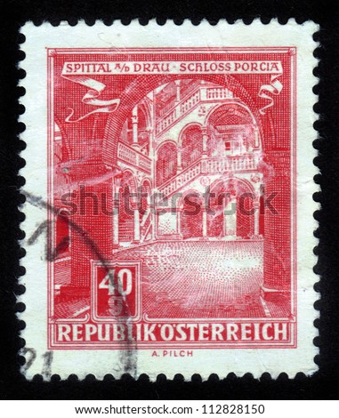 AUSTRIA - CIRCA 1962: A stamp printed in Austria, shows Schloss Porcia (Porcia Castle) in Spittal an der Drau, circa 1962 - stock photo