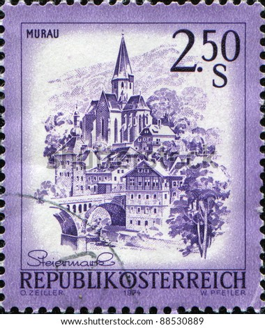 AUSTRIA - CIRCA 1974: A stamp printed in Austria, shows the city of Murau, Styria, circa 1974
