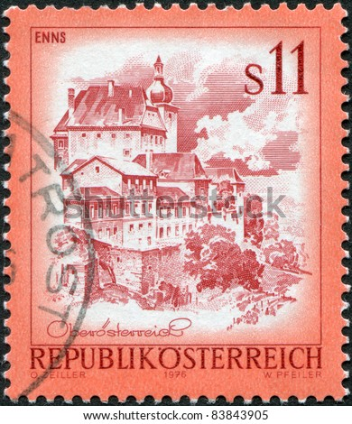AUSTRIA - CIRCA 1976: A stamp printed in Austria, shows the Old Town, Enns, circa 1976