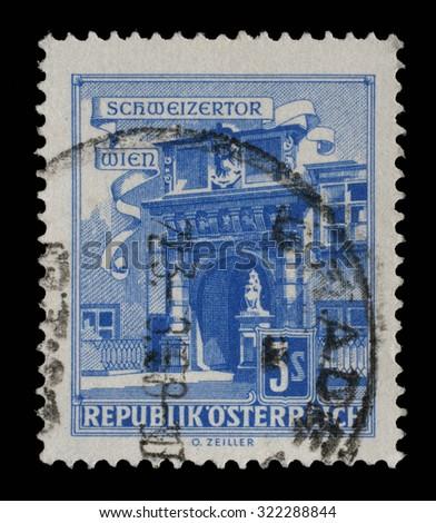 AUSTRIA - CIRCA 1962: A stamp printed in Austria shows Vienna Hofburg: Schweizertor (Swiss Gate), series, circa 1962 - stock photo