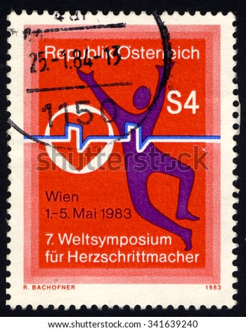 AUSTRIA - CIRCA 1983: A stamp printed in Austria to commemorate 7th World Pacemaker Congress shows Symbolic man and heart, circa 1983 - stock photo