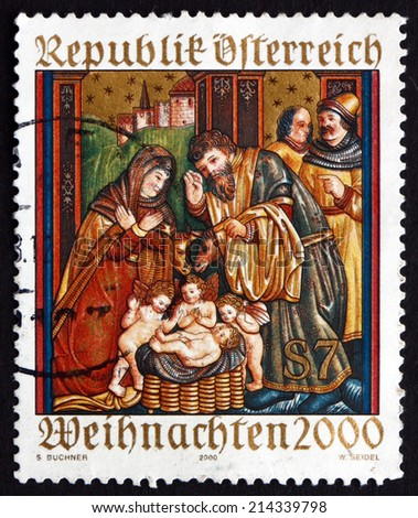 AUSTRIA - CIRCA 2000: a stamp printed in the Austria shows Altar Sidewing, St. Martin's Church, Ludesch, Christmas, circa 2000 - stock photo