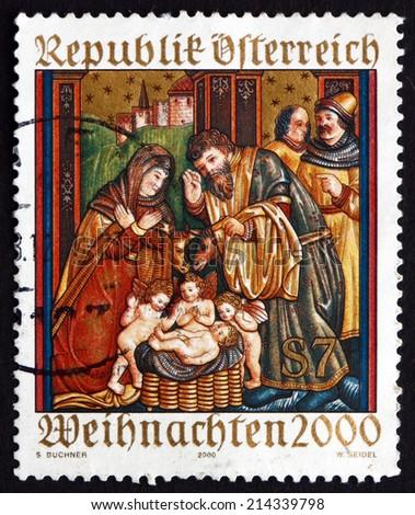 AUSTRIA - CIRCA 2000: a stamp printed in the Austria shows Altar Sidewing, St. Martin's Church, Ludesch, Christmas, circa 2000 - stock photo