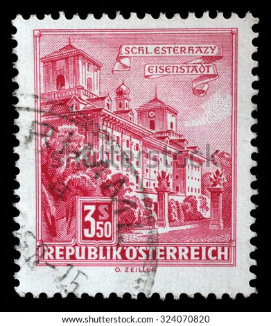 AUSTRIA - CIRCA 1962: a stamp printed in the Austria shows Esterhazy Palace, Eisenstadt, circa 1962