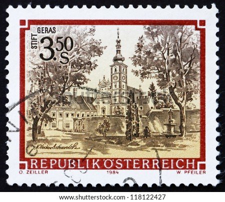 AUSTRIA - CIRCA 1984: a stamp printed in the Austria shows Geras Monastery, Lower Austria, circa 1984
