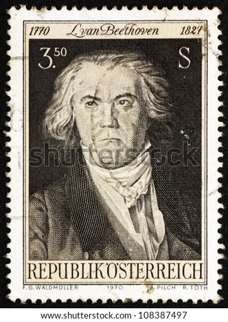 AUSTRIA - CIRCA 1970: a stamp printed in the Austria shows Ludwig van Beethoven, Composer and Pianist, Painting  by Georg Waldmuller, circa 1970