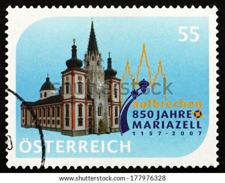 AUSTRIA - CIRCA 2007: a stamp printed in the Austria shows Mariazell Basilica, 850th Anniversary, circa 2007 - stock photo