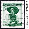 AUSTRIA - CIRCA 1948: a stamp printed in the Austria shows Woman from Tyrol, Puster Valley, Regional Costume, circa 1948 - stock photo