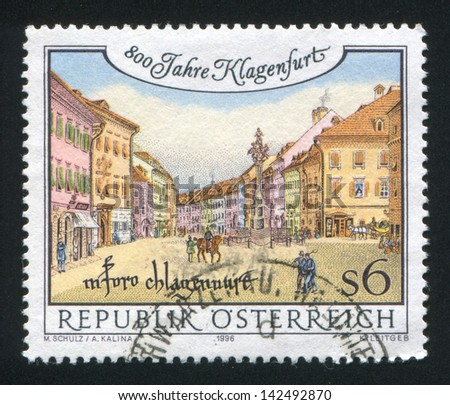 AUSTRIA - CIRCA 1996: stamp printed by Austria, shows ancient square, circa 1996