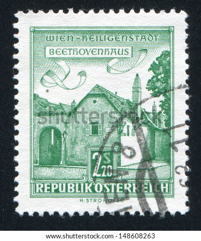 AUSTRIA - CIRCA 1957: stamp printed by Austria, shows Beethoven House, Vienna, circa 1957