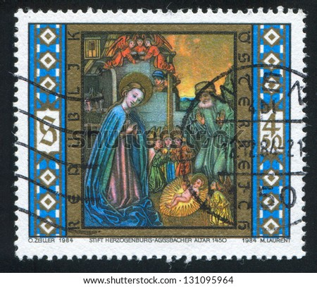 AUSTRIA - CIRCA 1984: stamp printed by Austria, shows Christmas, Christ is Born, Aggsbacher Altar, circa 1984