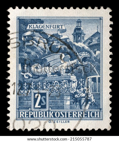 AUSTRIA - CIRCA 1957: stamp printed by Austria, shows Dragon Fountain, Klagenfurt, circa 1957