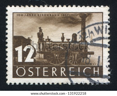 AUSTRIA - CIRCA 1937: stamp printed by Austria, shows First Locomotive �¢??Austria�¢?��, circa 1937